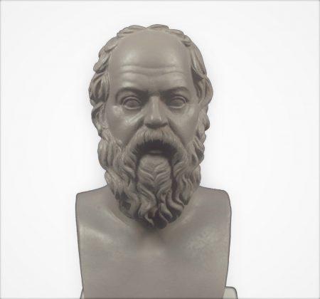 Grieks beeld van Socrates. Deze was een klassieke Griekse filosoof die beschouwd wordt als een van de grondleggers van de westerse filosofie. Bekend uit de Griekse mythologie